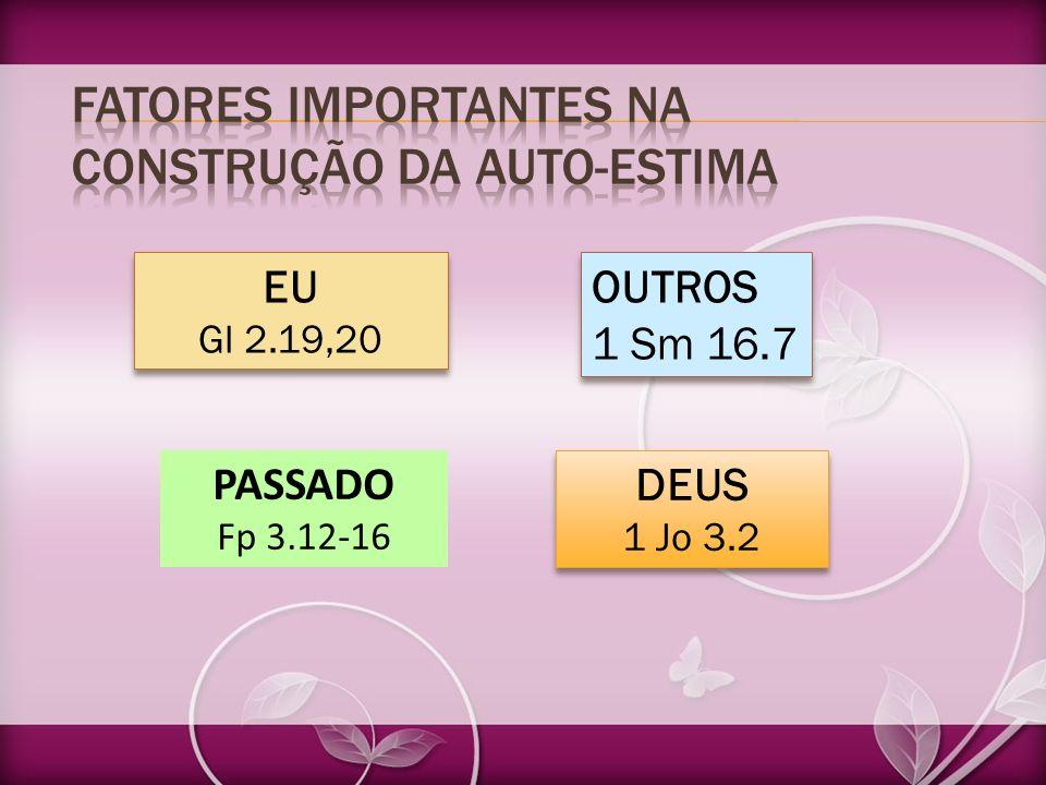 EU Gl 2.19,20 EU Gl 2.19,20 OUTROS 1 Sm 16.7 OUTROS 1 Sm 16.7 PASSADO Fp 3.12-16 DEUS 1 Jo 3.2 DEUS 1 Jo 3.2