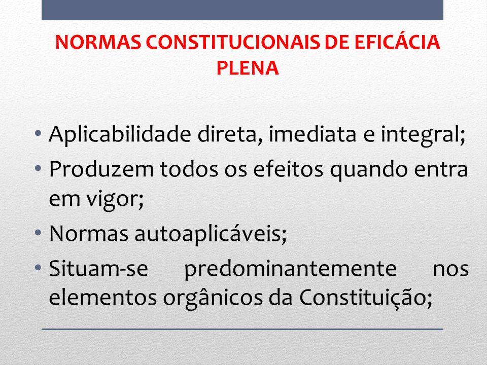 NORMAS CONSTITUCIONAIS DE EFICÁCIA PLENA Aplicabilidade direta, imediata e integral; Produzem todos os efeitos quando entra em vigor; Normas autoaplic
