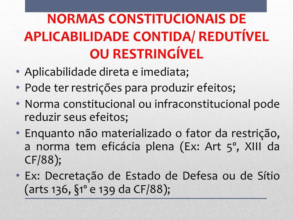 NORMAS CONSTITUCIONAIS DE APLICABILIDADE CONTIDA/ REDUTÍVEL OU RESTRINGÍVEL Aplicabilidade direta e imediata; Pode ter restrições para produzir efeito