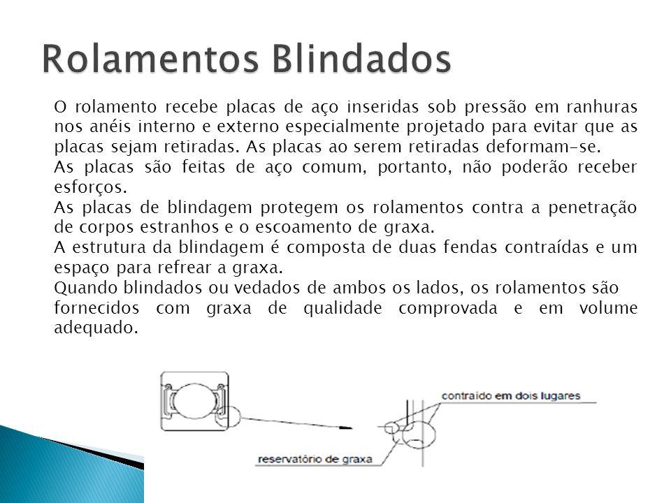 O rolamento recebe placas de aço inseridas sob pressão em ranhuras nos anéis interno e externo especialmente projetado para evitar que as placas sejam