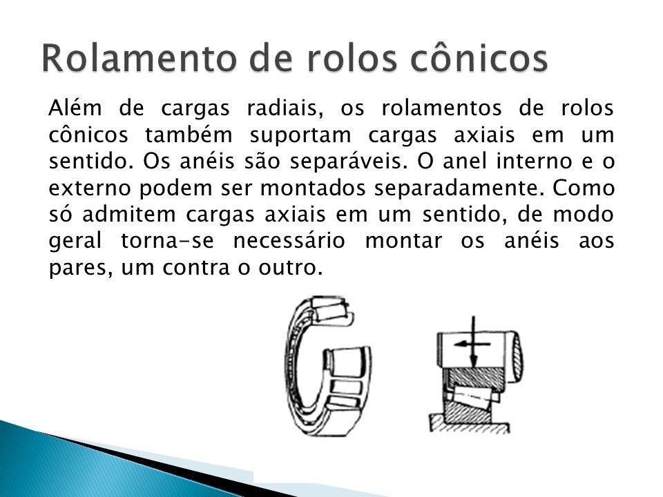 Além de cargas radiais, os rolamentos de rolos cônicos também suportam cargas axiais em um sentido. Os anéis são separáveis. O anel interno e o extern