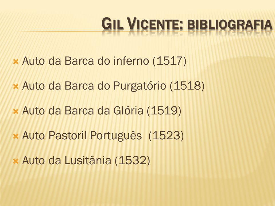 Auto da Barca do inferno (1517) Auto da Barca do Purgatório (1518) Auto da Barca da Glória (1519) Auto Pastoril Português (1523) Auto da Lusitânia (15