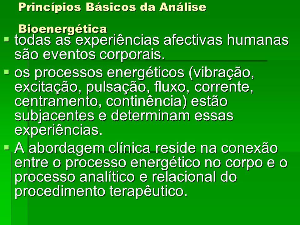 Princípios Básicos da Análise Bioenergética todas as experiências afectivas humanas são eventos corporais. todas as experiências afectivas humanas são