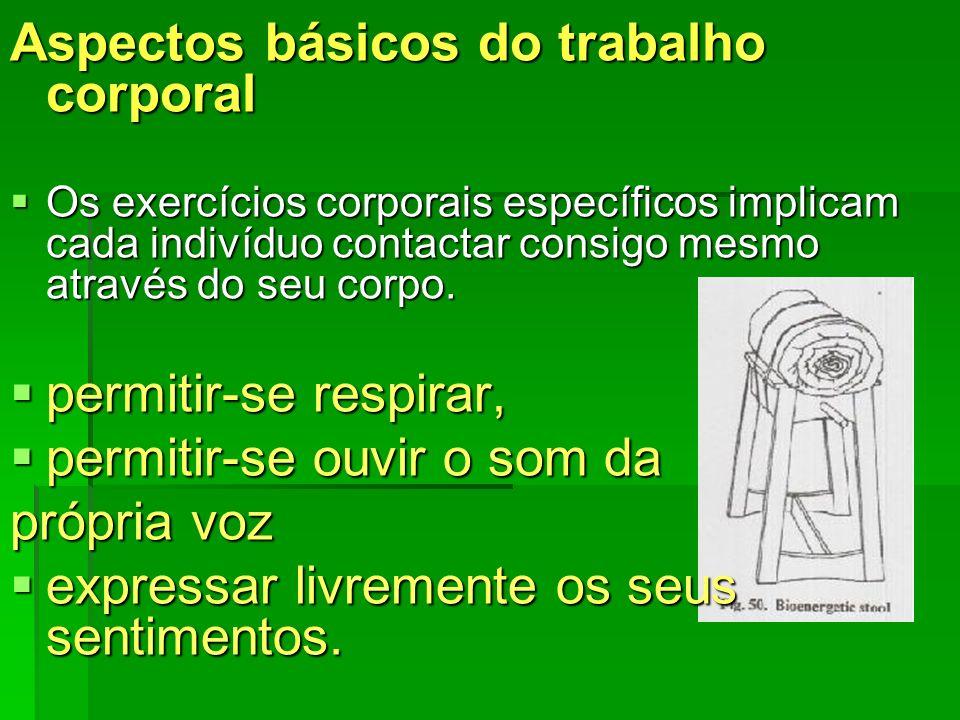 Aspectos básicos do trabalho corporal Os exercícios corporais específicos implicam cada indivíduo contactar consigo mesmo através do seu corpo. Os exe