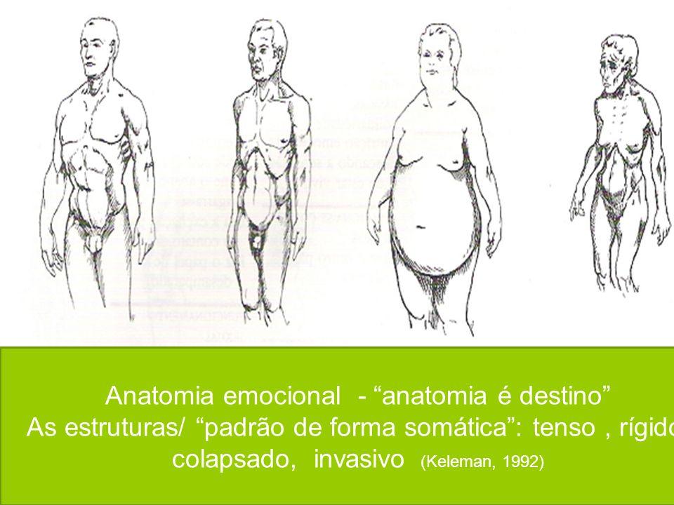 Anatomia emocional - anatomia é destino As estruturas/ padrão de forma somática: tenso, rígido, colapsado, invasivo (Keleman, 1992)