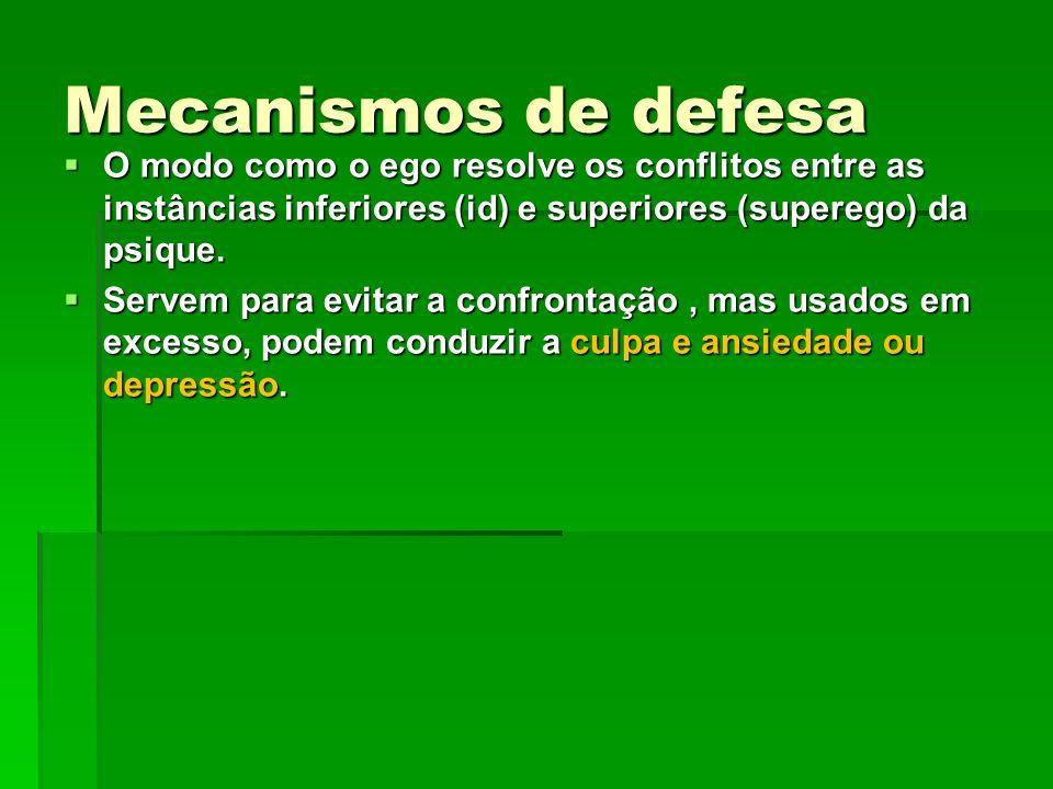 Mecanismos de defesa O modo como o ego resolve os conflitos entre as instâncias inferiores (id) e superiores (superego) da psique. O modo como o ego r