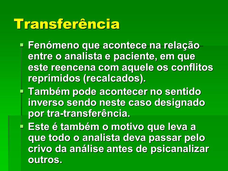 Transferência Fenómeno que acontece na relação entre o analista e paciente, em que este reencena com aquele os conflitos reprimidos (recalcados). Fenó