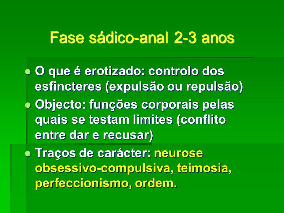 Fase sádico-anal 2-3 anos O que é erotizado: controlo dos esfincteres (expulsão ou repulsão) O que é erotizado: controlo dos esfincteres (expulsão ou