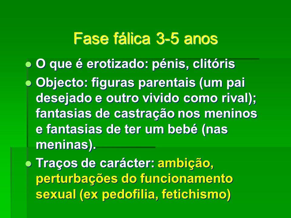 Fase fálica 3-5 anos O que é erotizado: pénis, clitóris O que é erotizado: pénis, clitóris Objecto: figuras parentais (um pai desejado e outro vivido