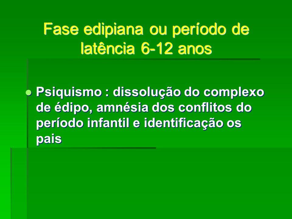 Fase edipiana ou período de latência 6-12 anos Psiquismo : dissolução do complexo de édipo, amnésia dos conflitos do período infantil e identificação