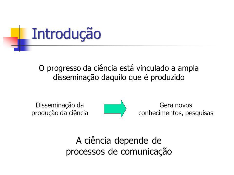 Introdução O progresso da ciência está vinculado a ampla disseminação daquilo que é produzido A ciência depende de processos de comunicação Disseminaç