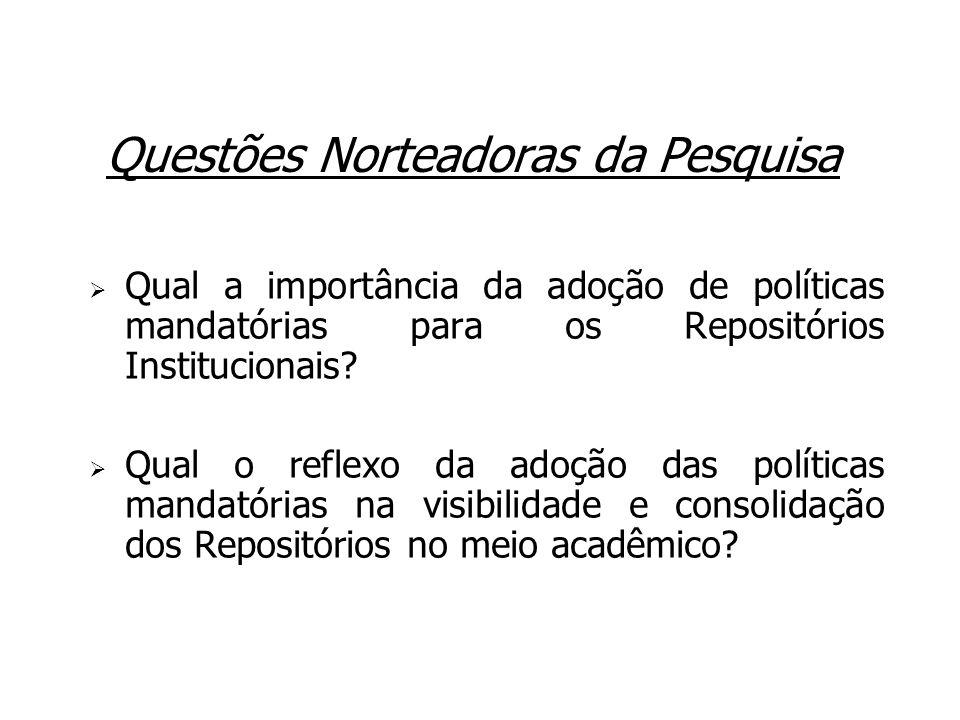 Questões Norteadoras da Pesquisa Qual a importância da adoção de políticas mandatórias para os Repositórios Institucionais? Qual o reflexo da adoção d