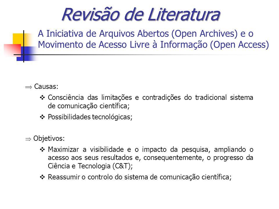 A Iniciativa de Arquivos Abertos (Open Archives) e o Movimento de Acesso Livre à Informação (Open Access) Causas: Consciência das limitações e contrad