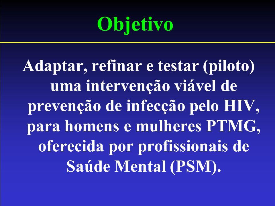 Objetivo Adaptar, refinar e testar (piloto) uma intervenção viável de prevenção de infecção pelo HIV, para homens e mulheres PTMG, oferecida por profi