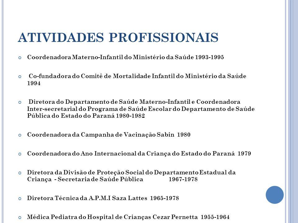 ATIVIDADES PROFISSIONAIS Coordenadora Materno-Infantil do Ministério da Saúde 1993-1995 Co-fundadora do Comitê de Mortalidade Infantil do Ministério d
