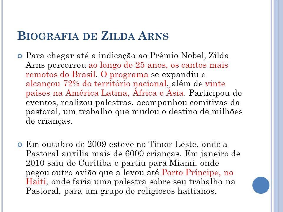 B IOGRAFIA DE Z ILDA A RNS Para chegar até a indicação ao Prêmio Nobel, Zilda Arns percorreu ao longo de 25 anos, os cantos mais remotos do Brasil. O