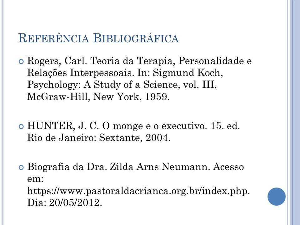 R EFERÊNCIA B IBLIOGRÁFICA Rogers, Carl. Teoria da Terapia, Personalidade e Relações Interpessoais. In: Sigmund Koch, Psychology: A Study of a Science
