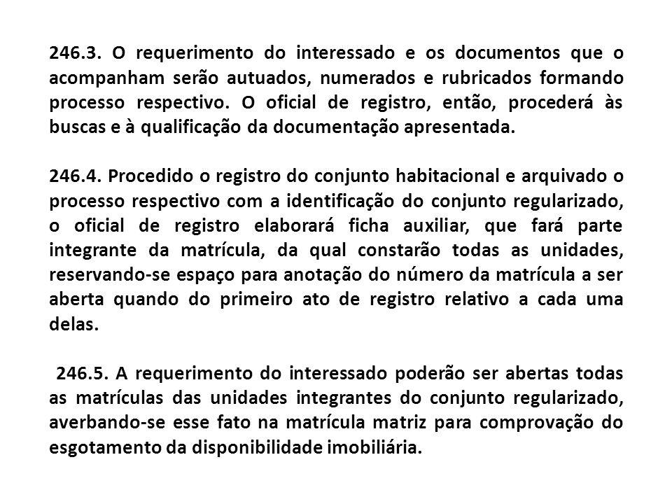 246.3. O requerimento do interessado e os documentos que o acompanham serão autuados, numerados e rubricados formando processo respectivo. O oficial d