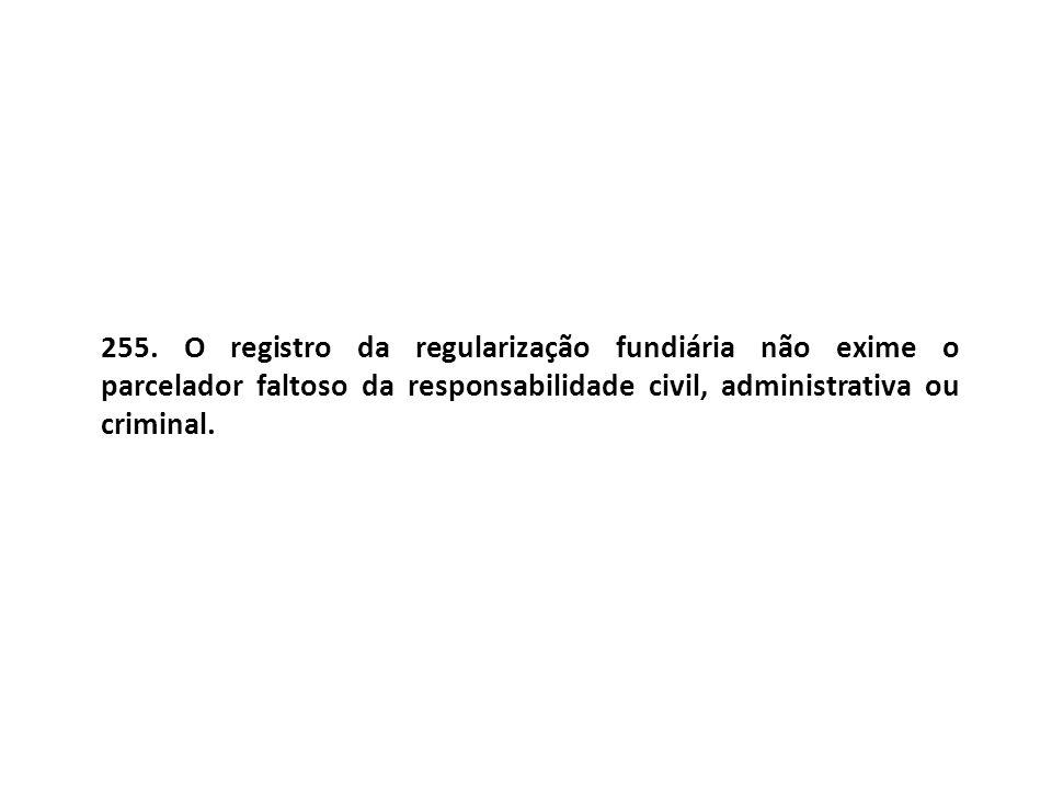 255. O registro da regularização fundiária não exime o parcelador faltoso da responsabilidade civil, administrativa ou criminal.