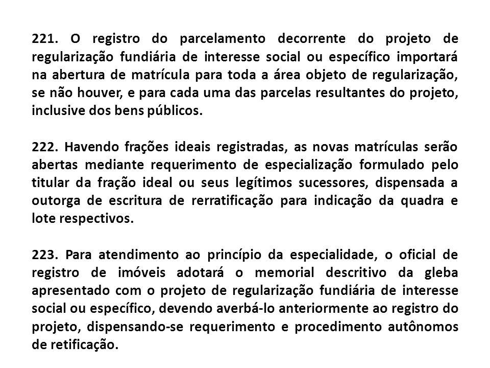 221. O registro do parcelamento decorrente do projeto de regularização fundiária de interesse social ou específico importará na abertura de matrícula