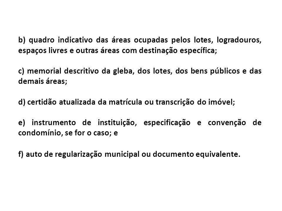 b) quadro indicativo das áreas ocupadas pelos lotes, logradouros, espaços livres e outras áreas com destinação específica; c) memorial descritivo da g