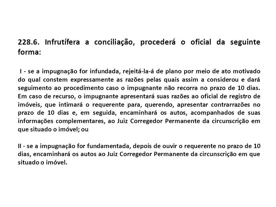 228.6. Infrutífera a conciliação, procederá o oficial da seguinte forma: I - se a impugnação for infundada, rejeitá-la-á de plano por meio de ato moti