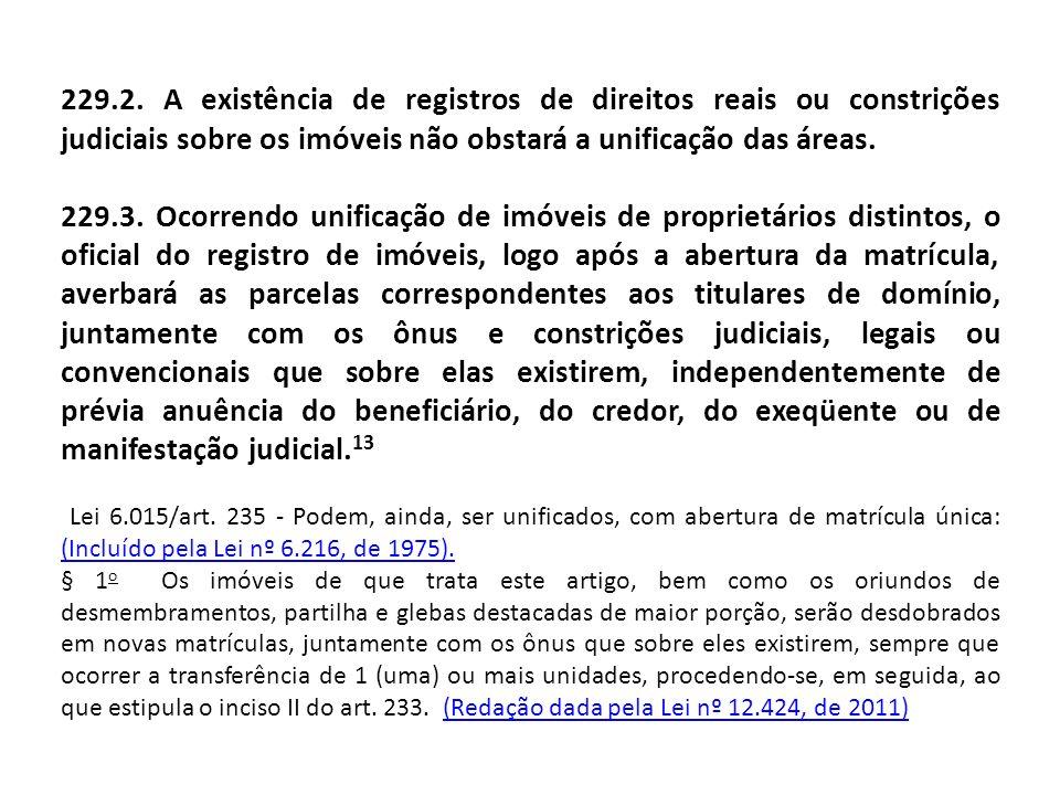 229.2. A existência de registros de direitos reais ou constrições judiciais sobre os imóveis não obstará a unificação das áreas. 229.3. Ocorrendo unif
