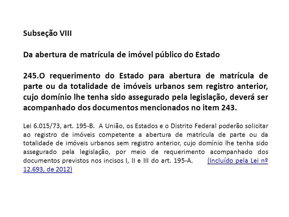 Subseção VIII Da abertura de matrícula de imóvel público do Estado 245.O requerimento do Estado para abertura de matrícula de parte ou da totalidade d