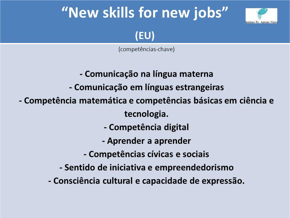 New skills for new jobs (EU) (competências-chave) - Comunicação na língua materna - Comunicação em línguas estrangeiras - Competência matemática e com