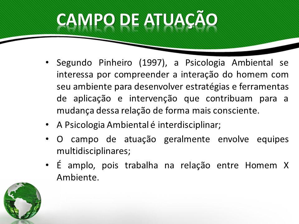 Segundo Pinheiro (1997), a Psicologia Ambiental se interessa por compreender a interação do homem com seu ambiente para desenvolver estratégias e ferr