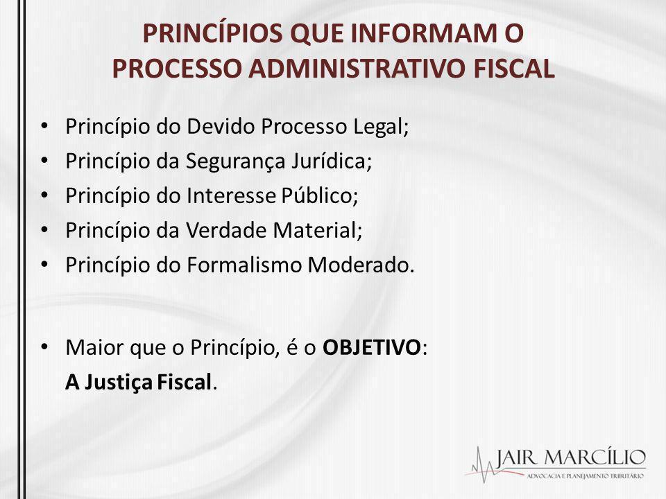 PRINCÍPIOS QUE INFORMAM O PROCESSO ADMINISTRATIVO FISCAL Princípio do Devido Processo Legal; Princípio da Segurança Jurídica; Princípio do Interesse P
