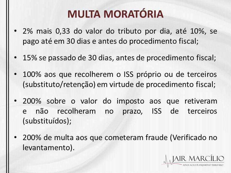 MULTA MORATÓRIA 2% mais 0,33 do valor do tributo por dia, até 10%, se pago até em 30 dias e antes do procedimento fiscal; 15% se passado de 30 dias, a