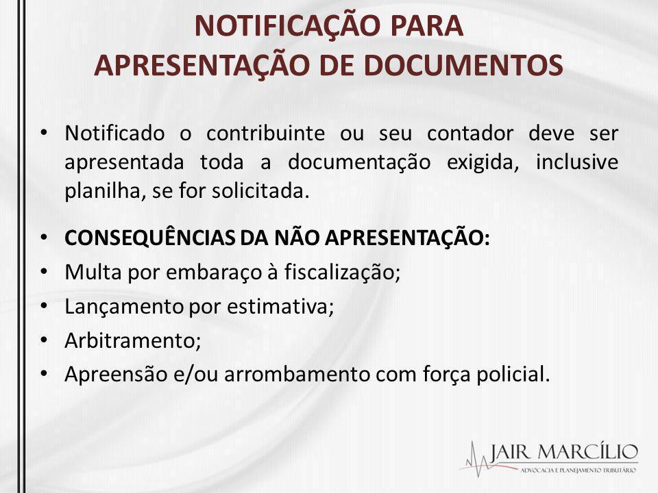 NOTIFICAÇÃO PARA APRESENTAÇÃO DE DOCUMENTOS Notificado o contribuinte ou seu contador deve ser apresentada toda a documentação exigida, inclusive plan