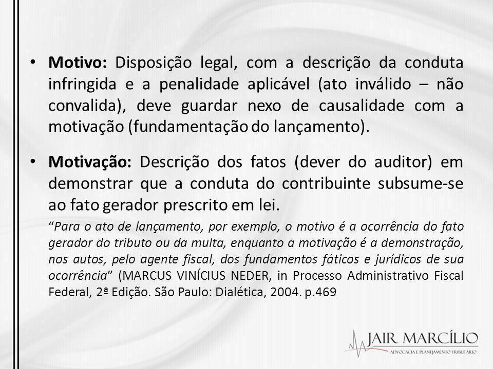 Motivo: Disposição legal, com a descrição da conduta infringida e a penalidade aplicável (ato inválido – não convalida), deve guardar nexo de causalid