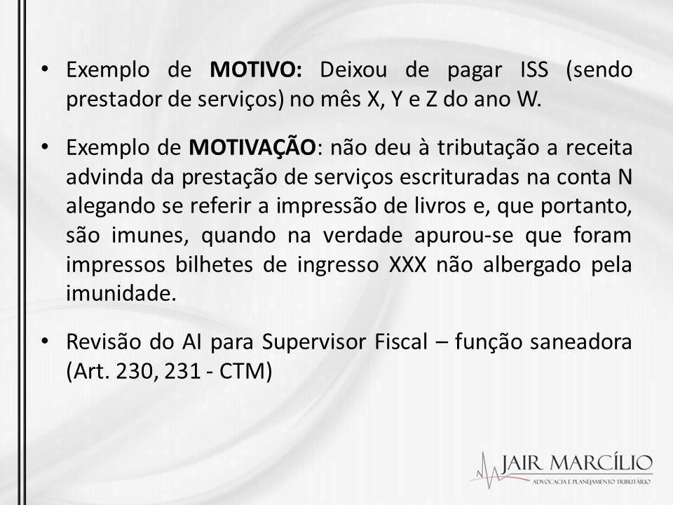 Exemplo de MOTIVO: Deixou de pagar ISS (sendo prestador de serviços) no mês X, Y e Z do ano W. Exemplo de MOTIVAÇÃO: não deu à tributação a receita ad