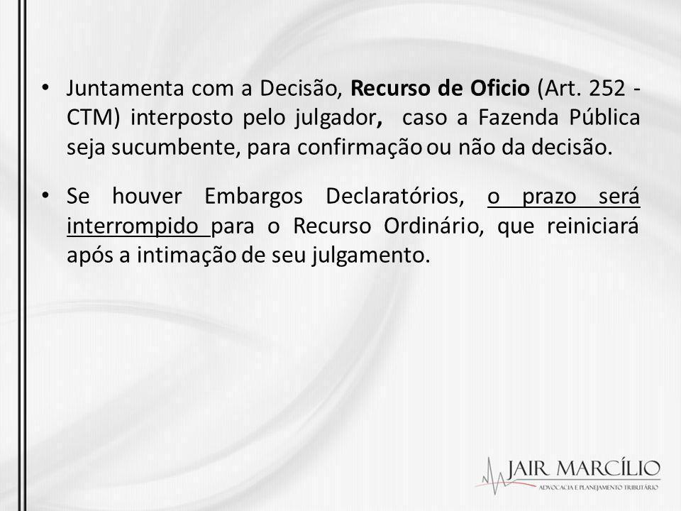 Juntamenta com a Decisão, Recurso de Oficio (Art. 252 - CTM) interposto pelo julgador, caso a Fazenda Pública seja sucumbente, para confirmação ou não
