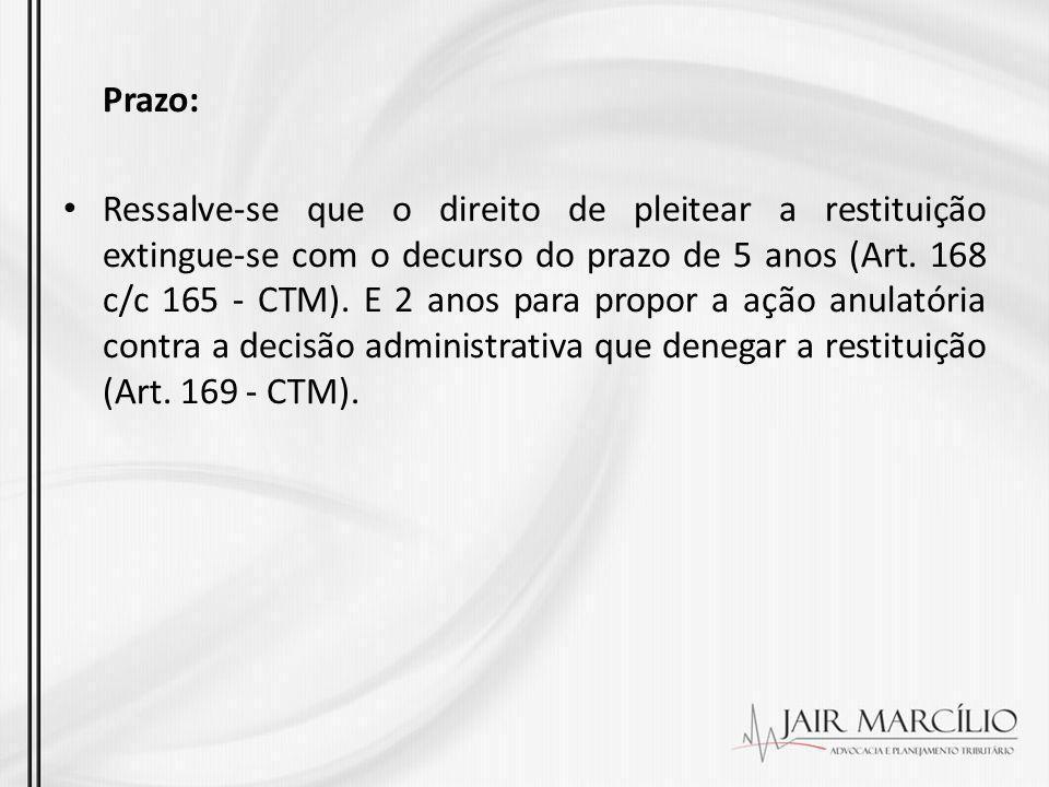 Prazo: Ressalve-se que o direito de pleitear a restituição extingue-se com o decurso do prazo de 5 anos (Art. 168 c/c 165 - CTM). E 2 anos para propor