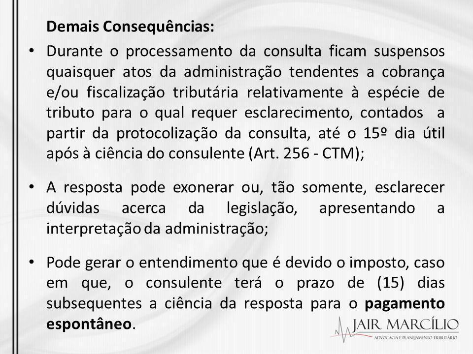 Demais Consequências: Durante o processamento da consulta ficam suspensos quaisquer atos da administração tendentes a cobrança e/ou fiscalização tribu