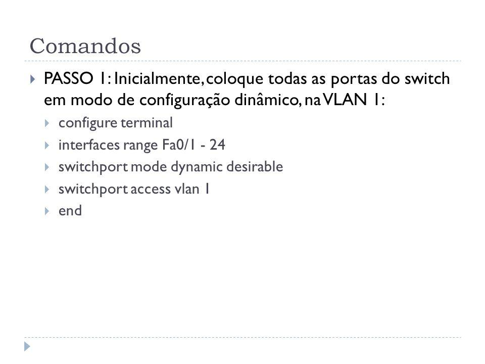 Comandos PASSO 1: Inicialmente, coloque todas as portas do switch em modo de configuração dinâmico, na VLAN 1: configure terminal interfaces range Fa0