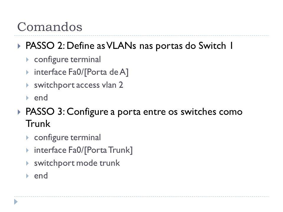 Comandos PASSO 2: Define as VLANs nas portas do Switch 1 configure terminal interface Fa0/[Porta de A] switchport access vlan 2 end PASSO 3: Configure a porta entre os switches como Trunk configure terminal interface Fa0/[Porta Trunk] switchport mode trunk end