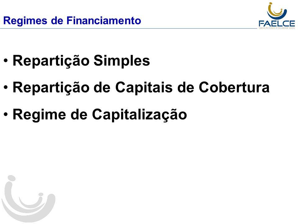 Regimes de Financiamento Repartição Simples Repartição de Capitais de Cobertura Regime de Capitalização