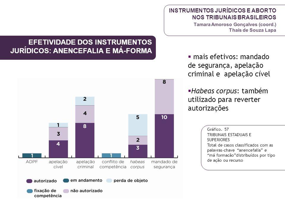 INSTRUMENTOS JURÍDICOS E ABORTO NOS TRIBUNAIS BRASILEIROS Tamara Amoroso Gonçalves (coord.) Thaís de Souza Lapa EFETIVIDADE DOS INSTRUMENTOS JURÍDICOS