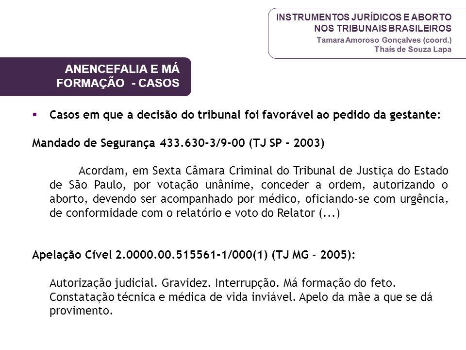 INSTRUMENTOS JURÍDICOS E ABORTO NOS TRIBUNAIS BRASILEIROS Tamara Amoroso Gonçalves (coord.) Thaís de Souza Lapa Casos em que a decisão do tribunal foi