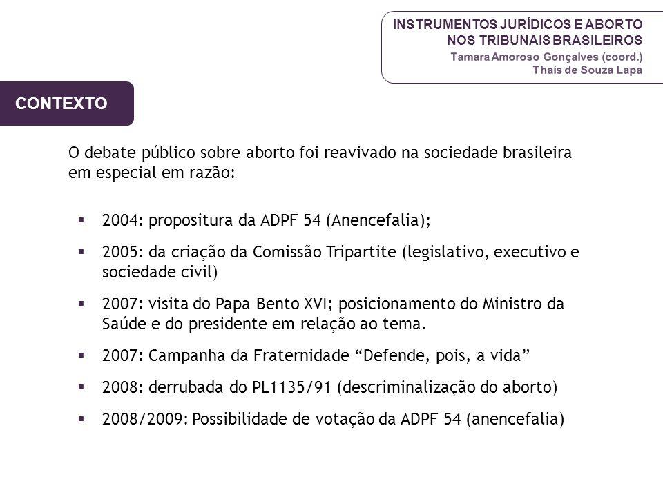 INSTRUMENTOS JURÍDICOS E ABORTO NOS TRIBUNAIS BRASILEIROS Tamara Amoroso Gonçalves (coord.) Thaís de Souza Lapa CONTEXTO ATUAL Caso da menina de Pernambuco – março 2009 possibilidade de votação da ADPF 54 no STF – até fim de 2009 continua criminalização do aborto: -Mato Grosso do Sul – exposição de mulheres, cassação do CFM da proprietária da clínica – júri popular -RJ, RS (agosto de 2009)