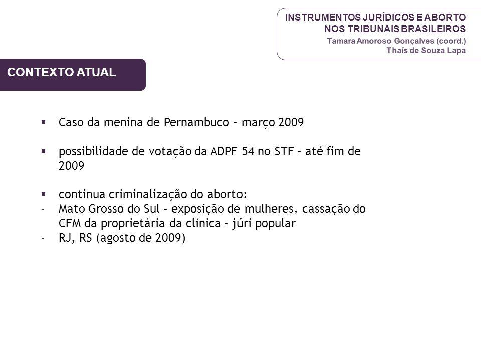 INSTRUMENTOS JURÍDICOS E ABORTO NOS TRIBUNAIS BRASILEIROS Tamara Amoroso Gonçalves (coord.) Thaís de Souza Lapa CONTEXTO ATUAL Caso da menina de Perna