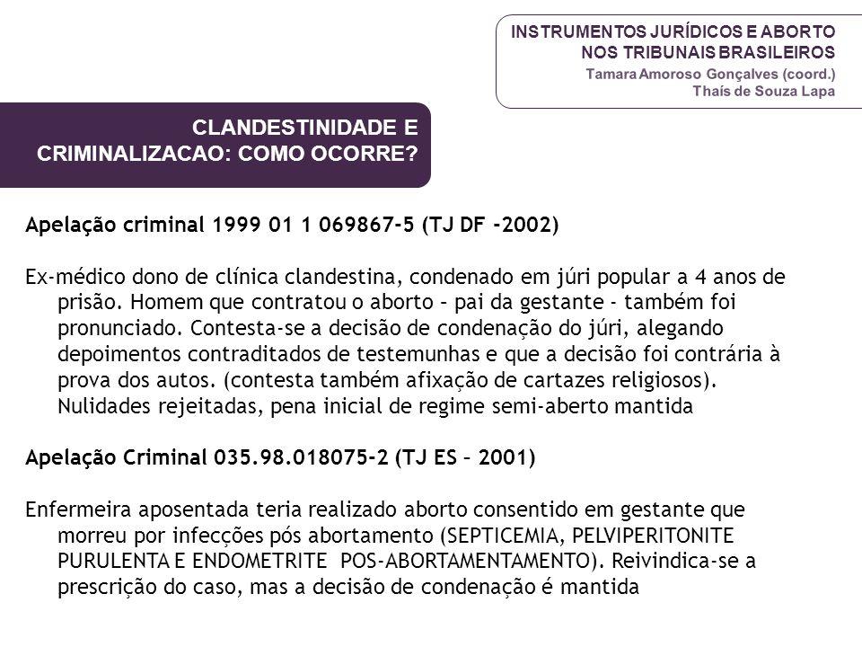 INSTRUMENTOS JURÍDICOS E ABORTO NOS TRIBUNAIS BRASILEIROS Tamara Amoroso Gonçalves (coord.) Thaís de Souza Lapa Apelação criminal 1999 01 1 069867-5 (