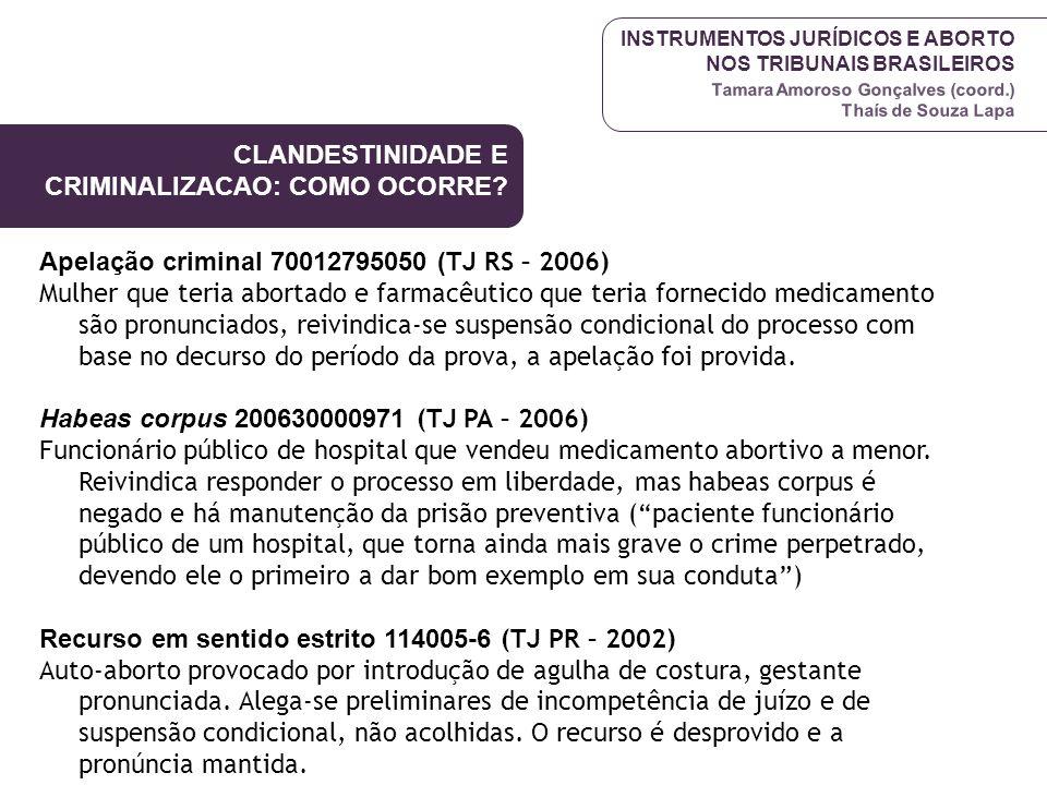 INSTRUMENTOS JURÍDICOS E ABORTO NOS TRIBUNAIS BRASILEIROS Tamara Amoroso Gonçalves (coord.) Thaís de Souza Lapa Apelação criminal 70012795050 ( TJ RS