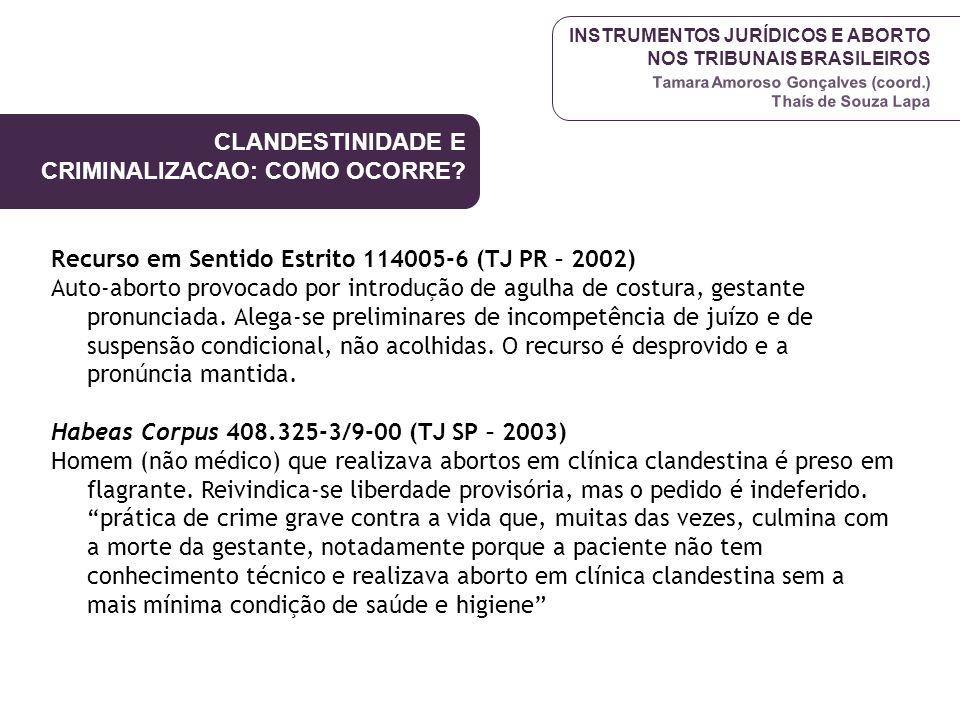INSTRUMENTOS JURÍDICOS E ABORTO NOS TRIBUNAIS BRASILEIROS Tamara Amoroso Gonçalves (coord.) Thaís de Souza Lapa Recurso em Sentido Estrito 114005-6 (T