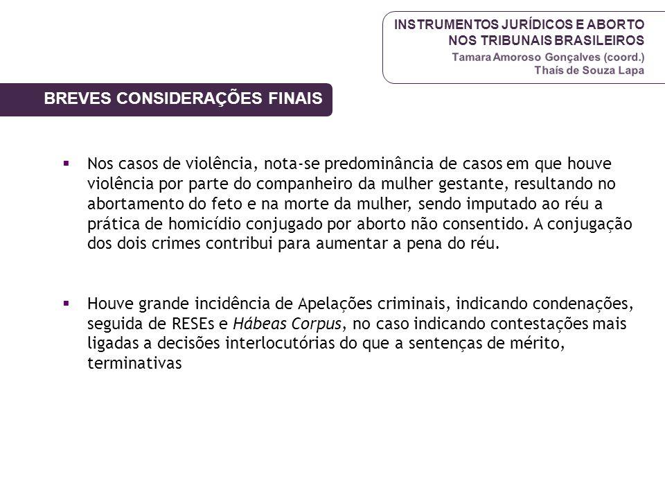 INSTRUMENTOS JURÍDICOS E ABORTO NOS TRIBUNAIS BRASILEIROS Tamara Amoroso Gonçalves (coord.) Thaís de Souza Lapa Nos casos de violência, nota-se predom
