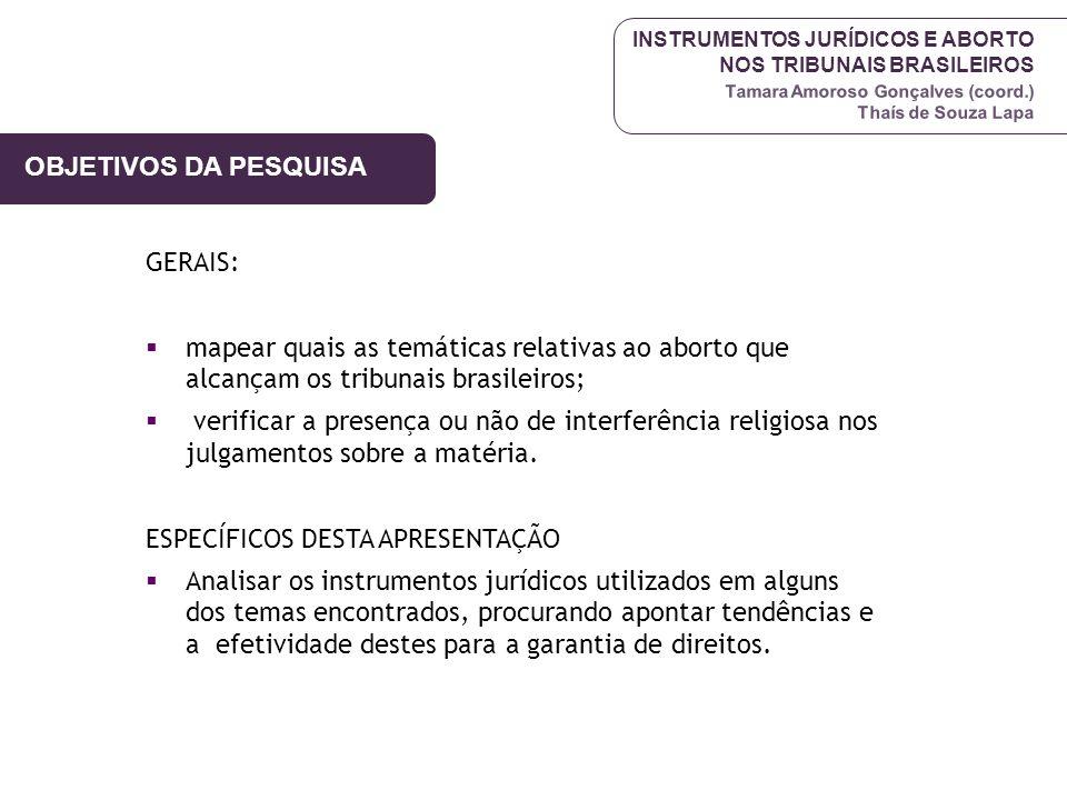 INSTRUMENTOS JURÍDICOS E ABORTO NOS TRIBUNAIS BRASILEIROS Tamara Amoroso Gonçalves (coord.) Thaís de Souza Lapa OBJETIVOS DA PESQUISA GERAIS: mapear q